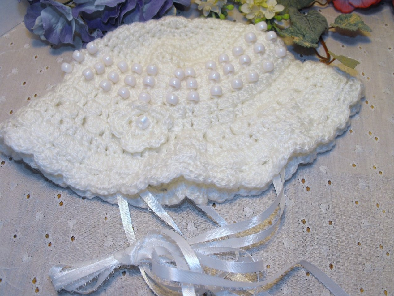 Crocheted Beaded Baby Hat Girls White Handcrafted