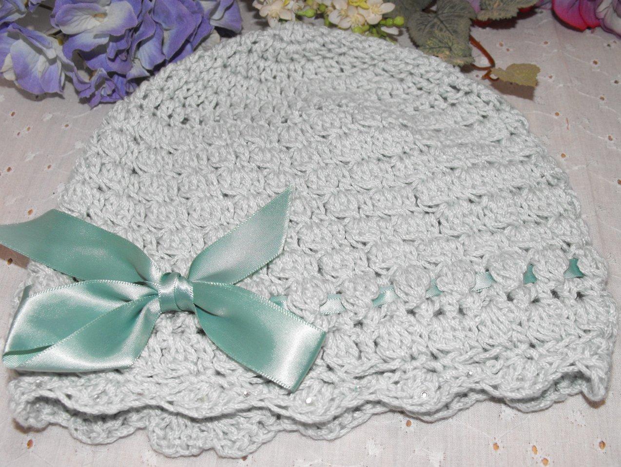 Crocheted Cloche Hat Cap Girl's Mint Green Handcrafted Rhinestones