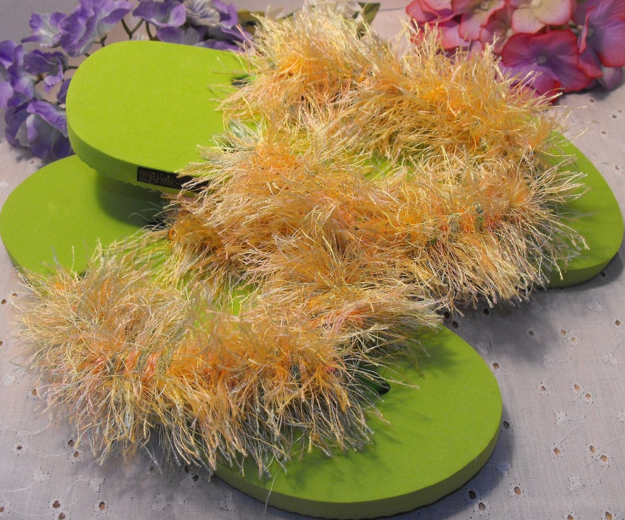 Fuzzy Flip Flops Hand Crocheted Fun Fur Sz 7-8 Thongs Lime