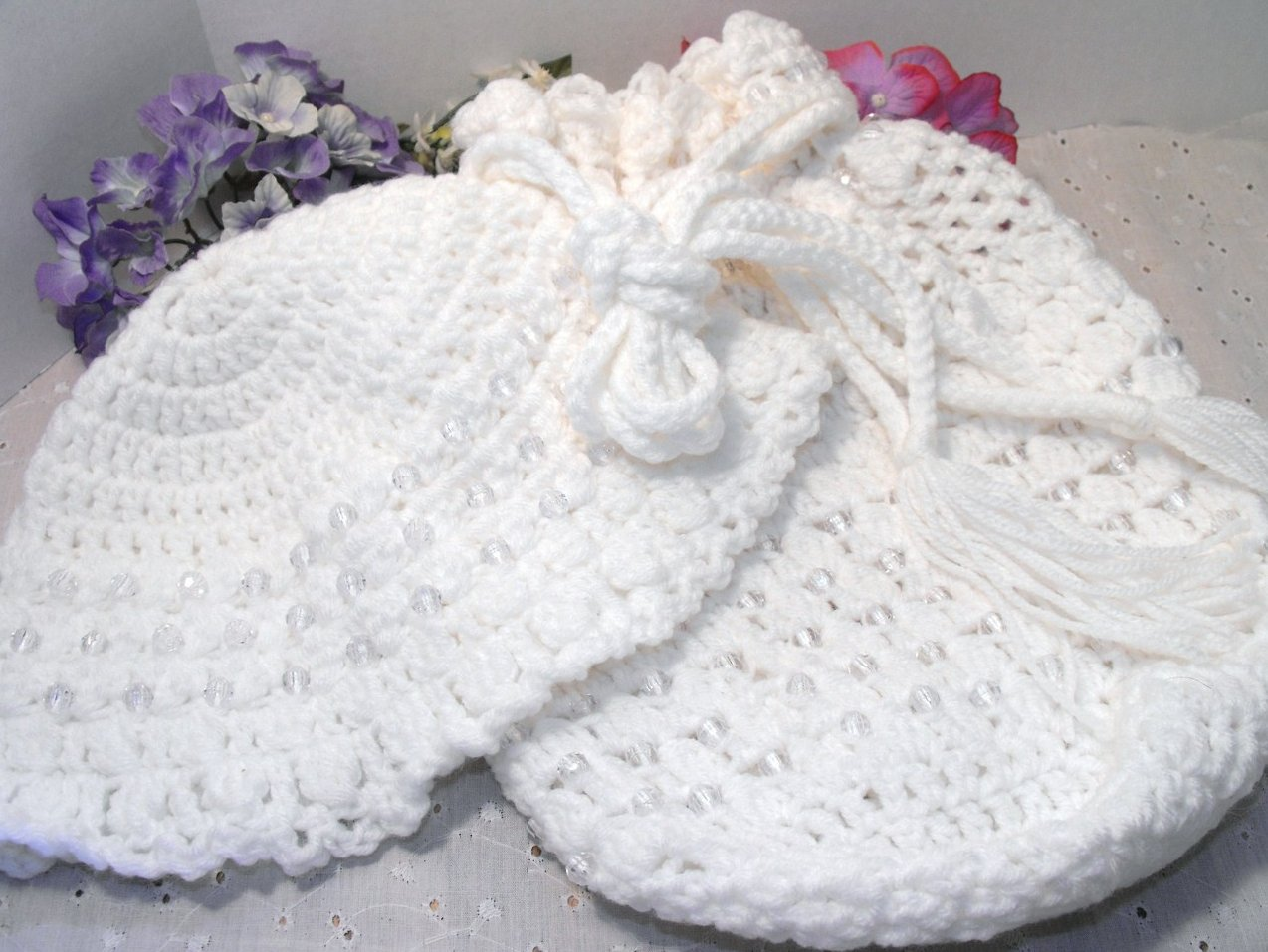 Crocheted Beaded Lined Drawstring Bag Purse and Hat Set