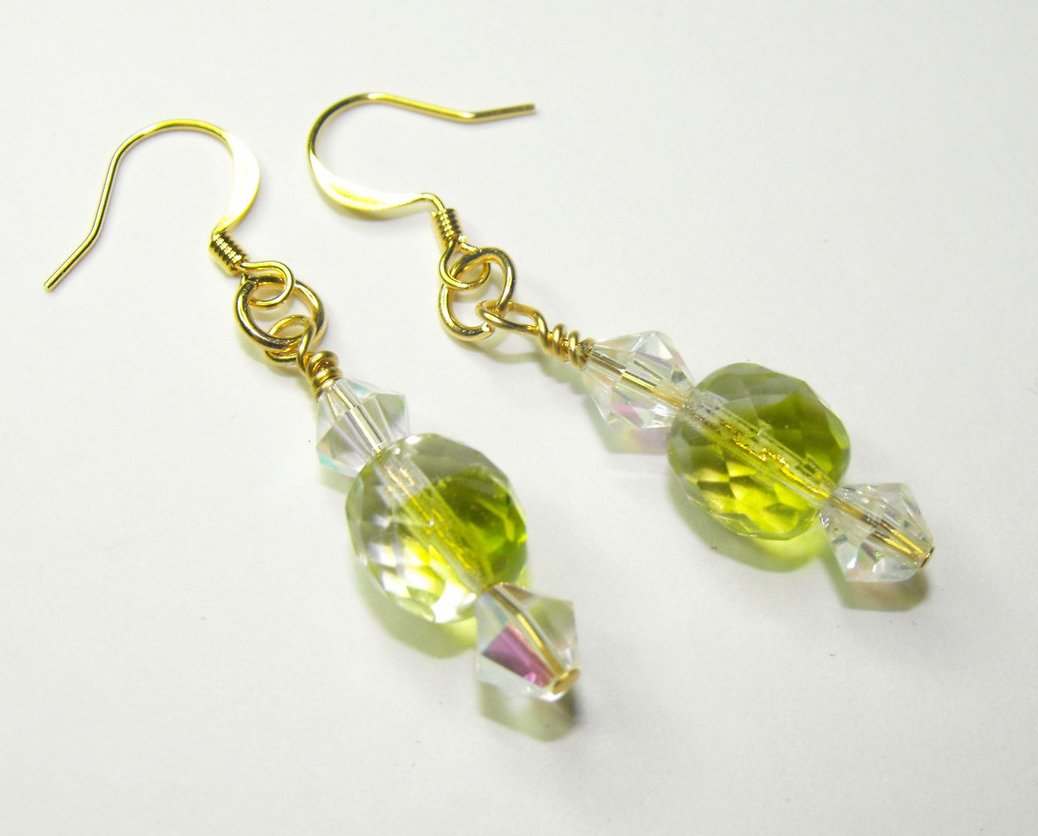 Beaded Handcrafted Earrings Green Czech Glass Crystal