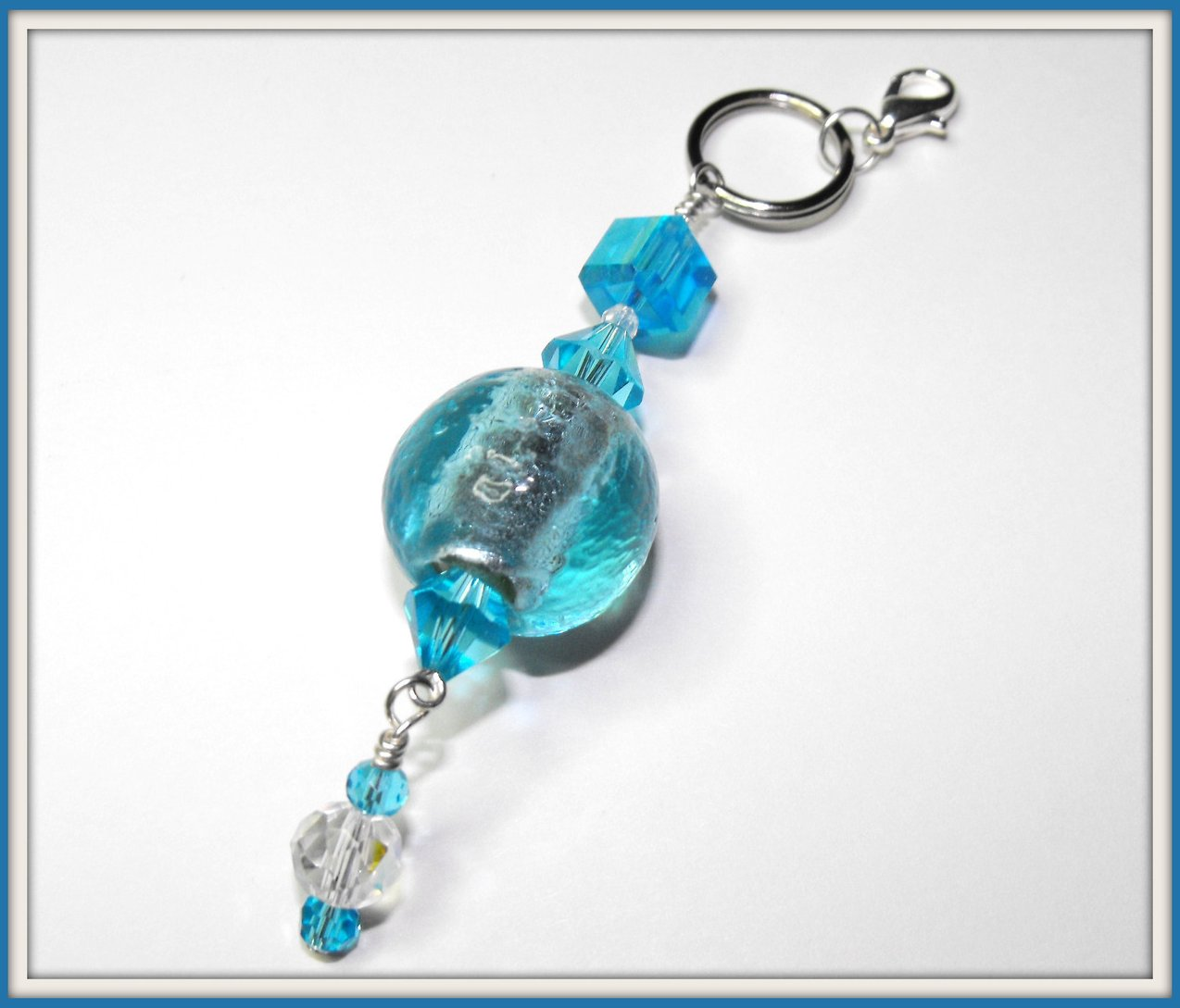 Beaded Purse Charm Keychain Zipper Pull Crystal Czech Aqua