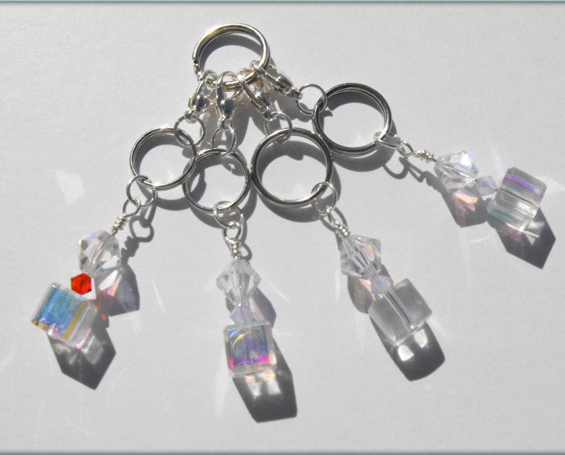Beaded Stitch Markers Knit Crochet Swarovski AB Crystal Beads  4pc Set