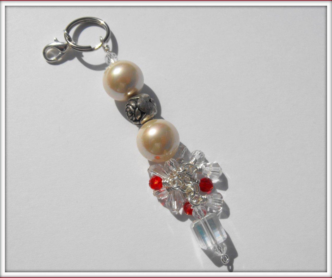 beaded keychain purse charm zipper pull pearl