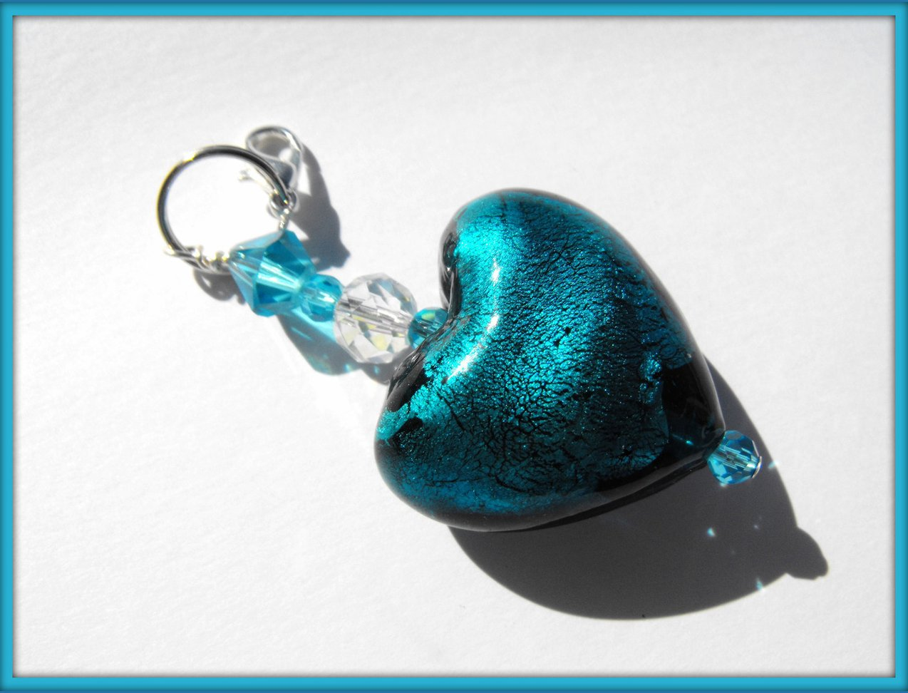 Beaded Purse Charm Zipper Pull Keychain Crystal Silver Teal