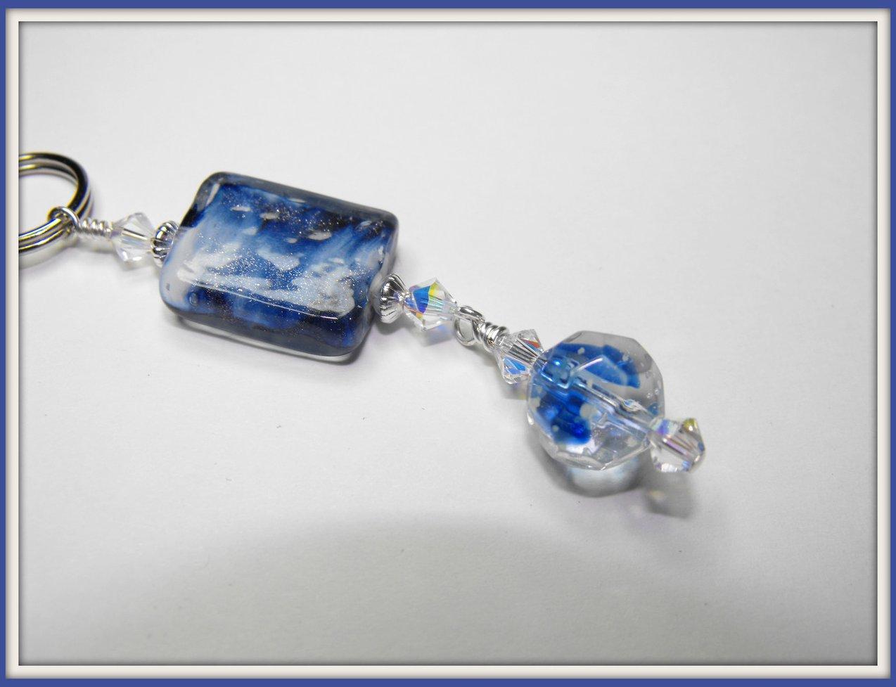 Beaded Purse Pull Zipper Charm Keychain Swarovski Art Glass