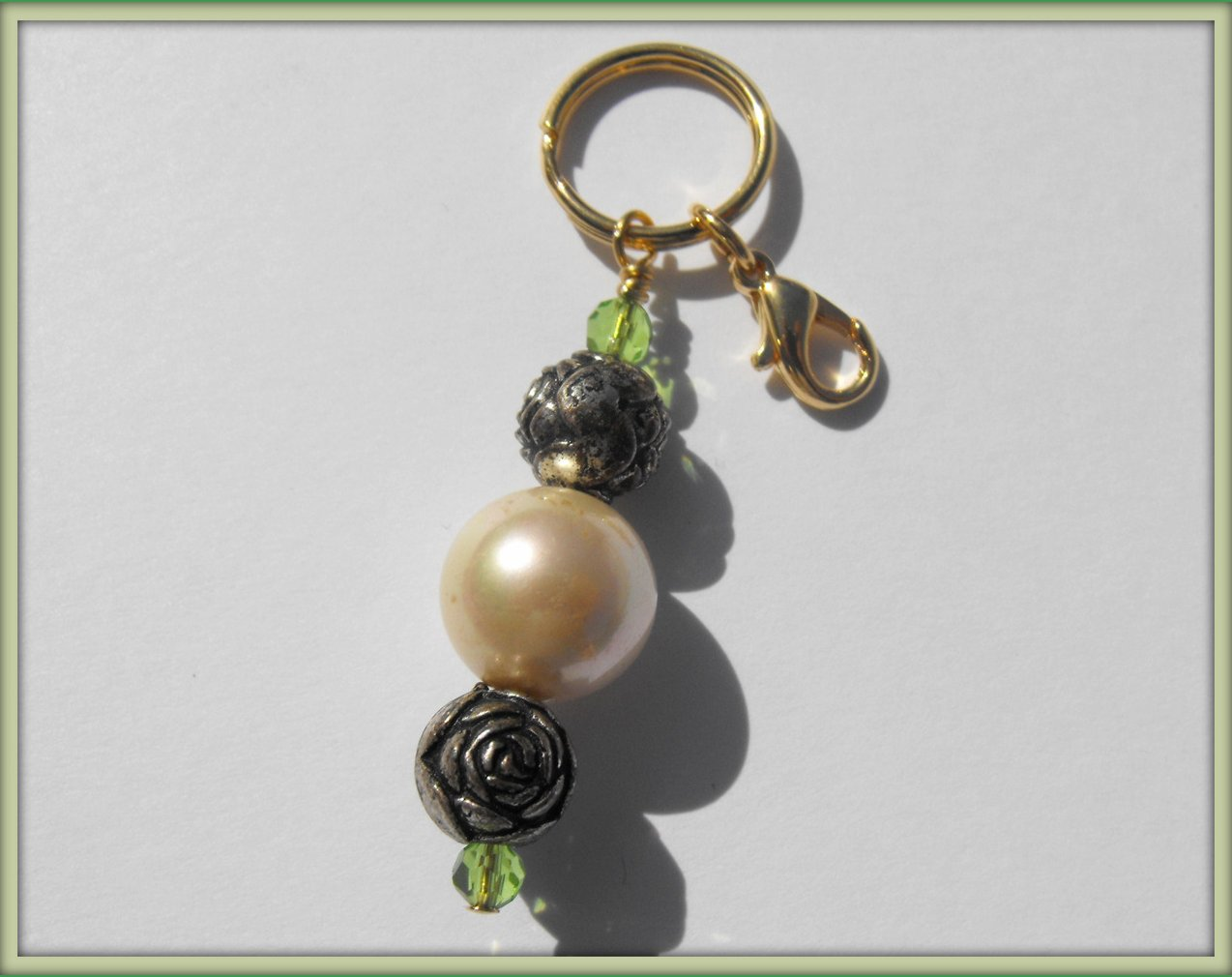 Beaded Keychain Purse Charm Zipper Pull Crystal Pearl Pewter