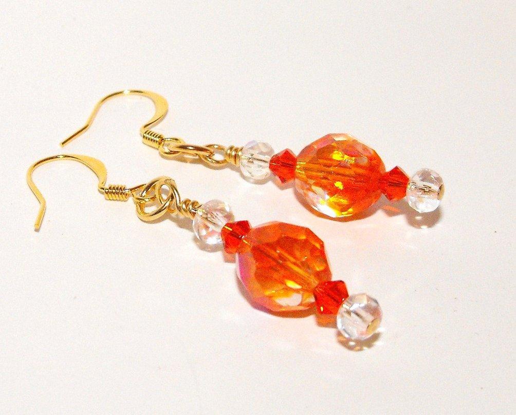 Beaded Earrings Handcrafted Orange Fire Polished Czech Glass Crystal