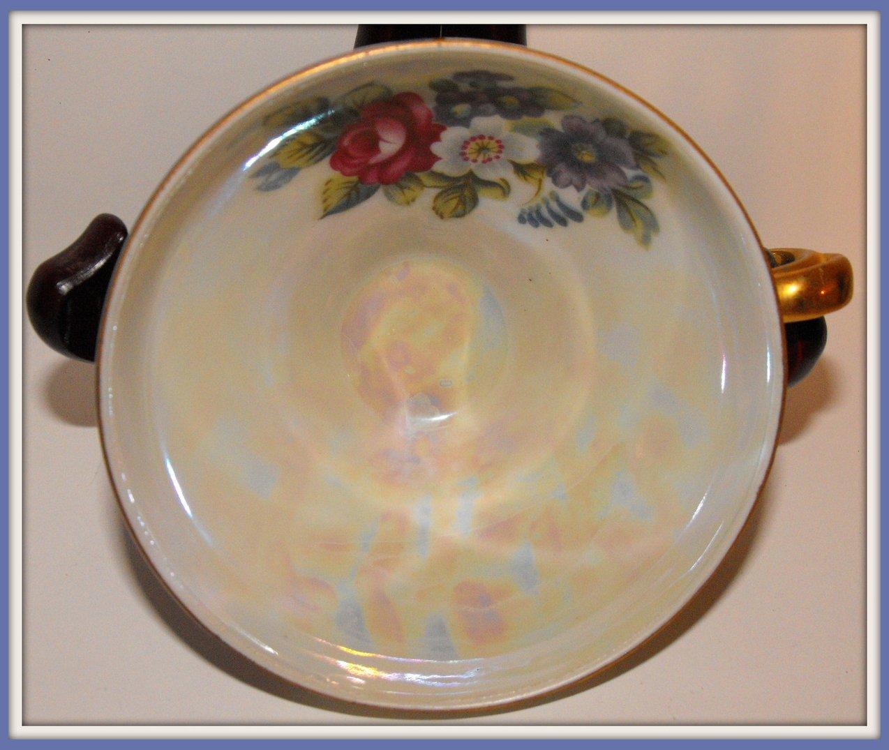 Image 2 of Vintage Tea Cup Porcelain China Transferware Blue Lustre
