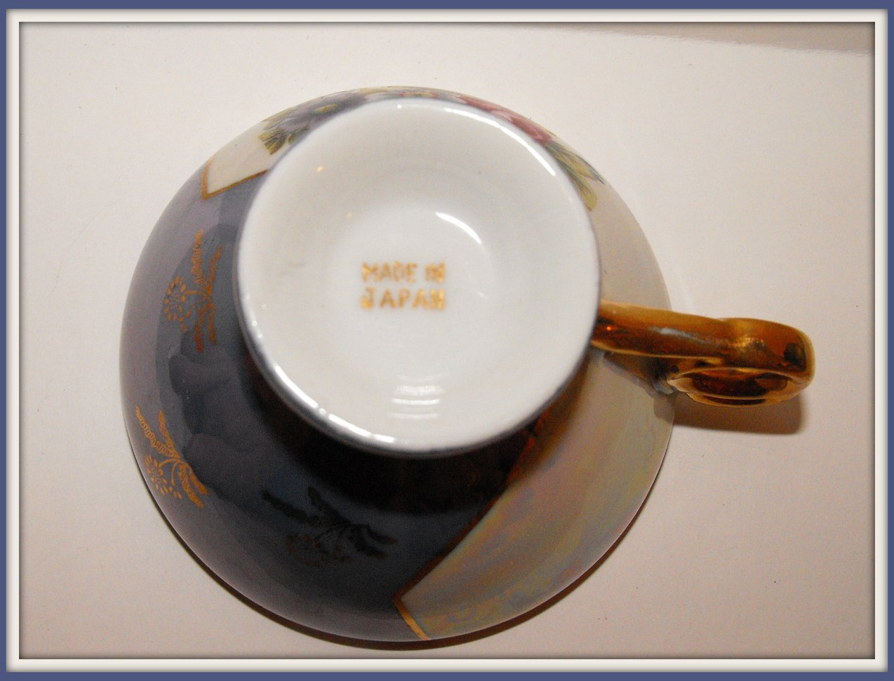 Image 3 of Vintage Tea Cup Porcelain China Transferware Blue Lustre
