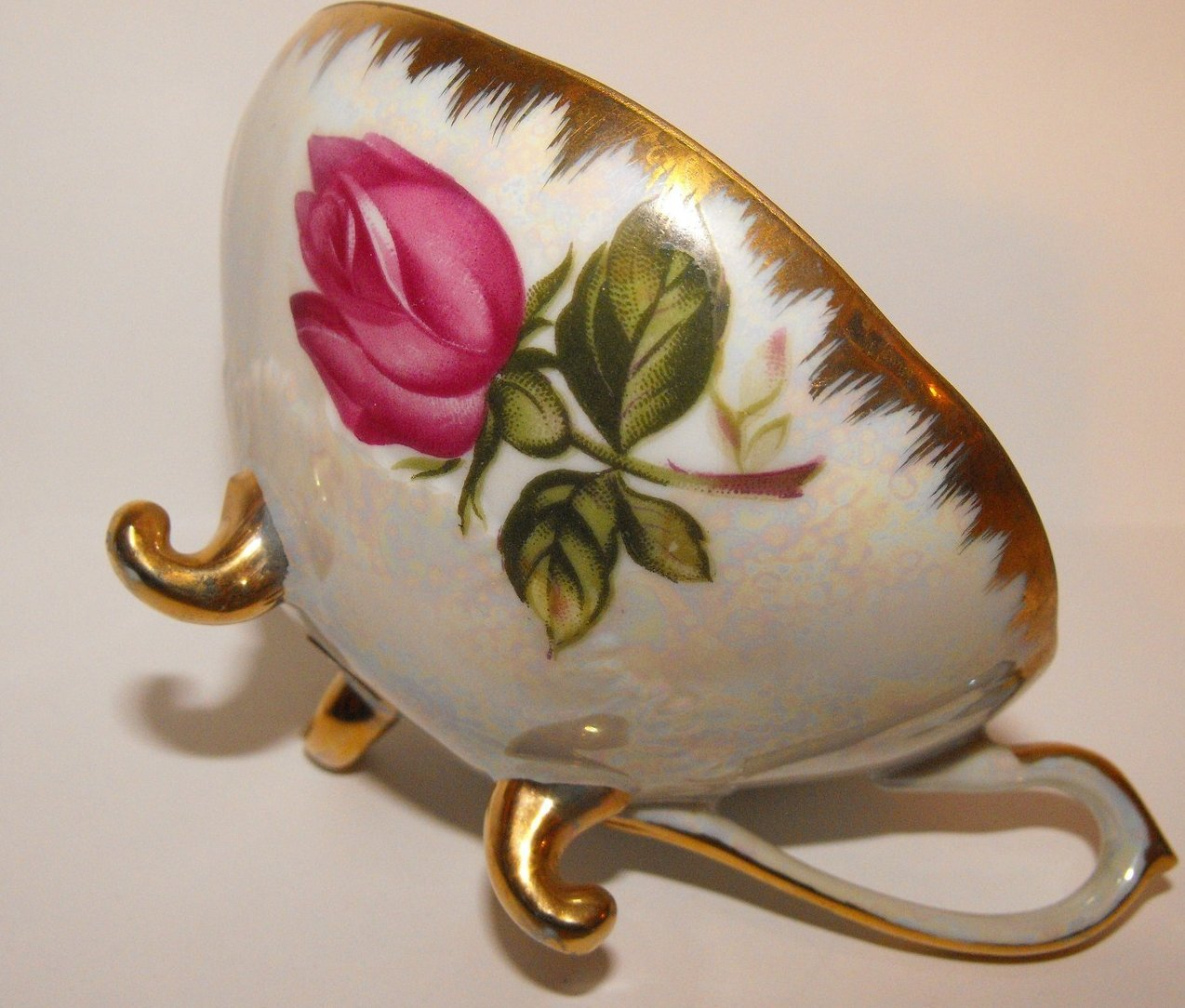 Image 0 of Vintage Cup Porcelain China Transferware Footed Pearl Lustre