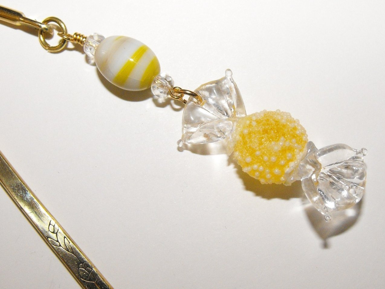 Bookmark Handcrafted Beaded Candy Charm Crystal Brass