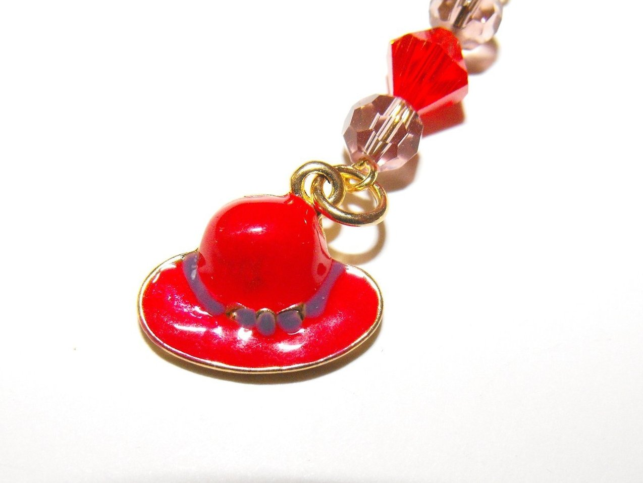 Bookmark Handcrafted Beaded Red Hat Charm Crystal Brass