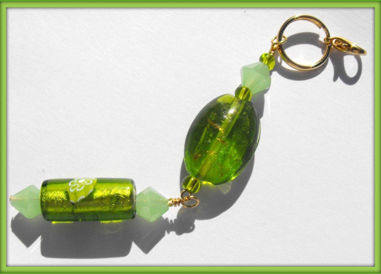 Beaded Purse Charm Zipper Pull Keychain Crystal Green Glass