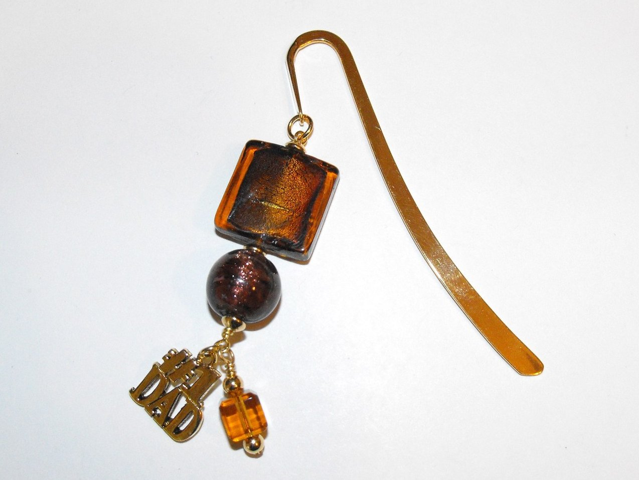 Beaded Bookmark Handcrafted with Amber Beads Dad Charm Gold Plated