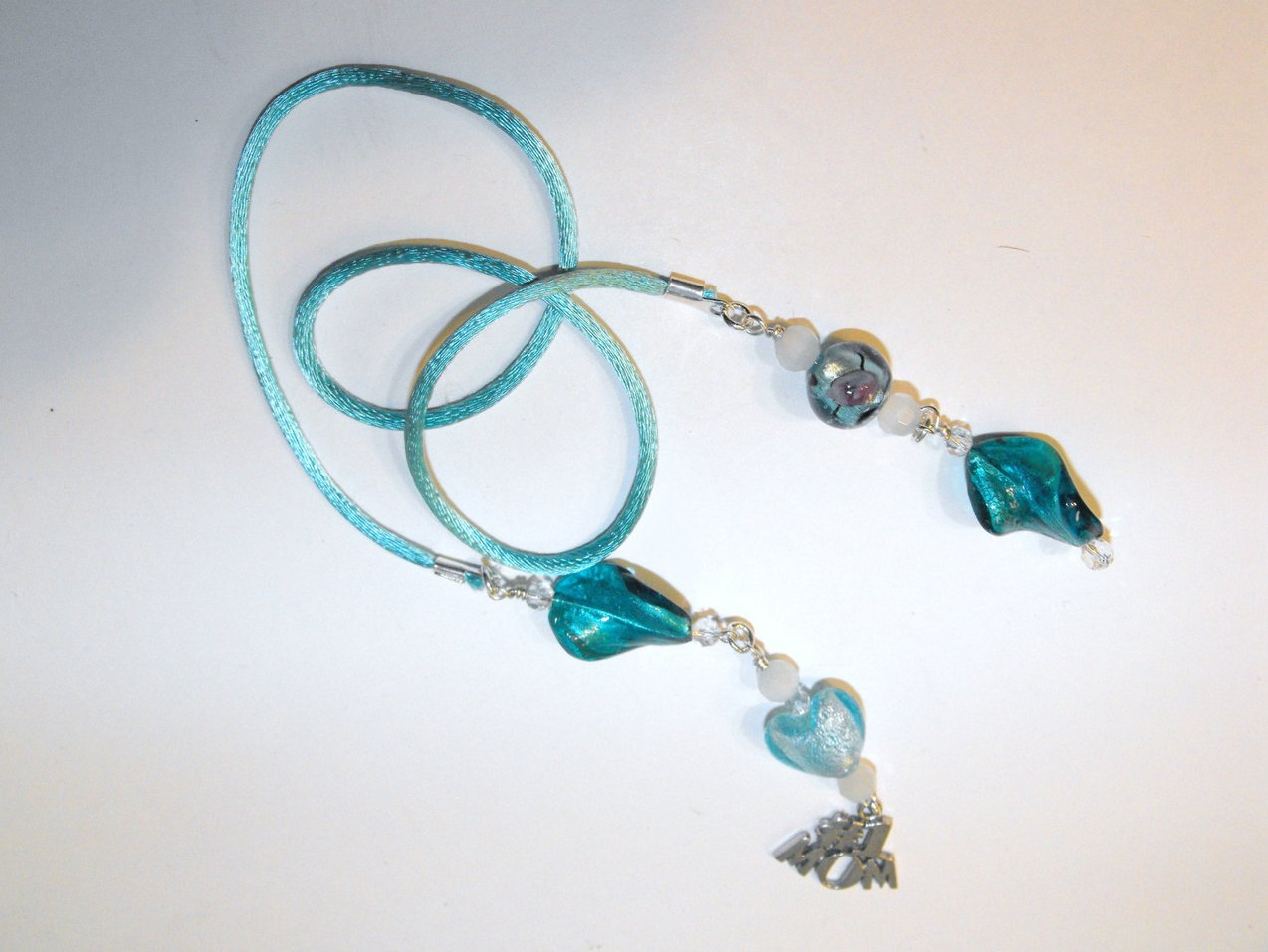 Mom Book Thong Bookmark Aqua Murano Lampwork Beads Silver Plated