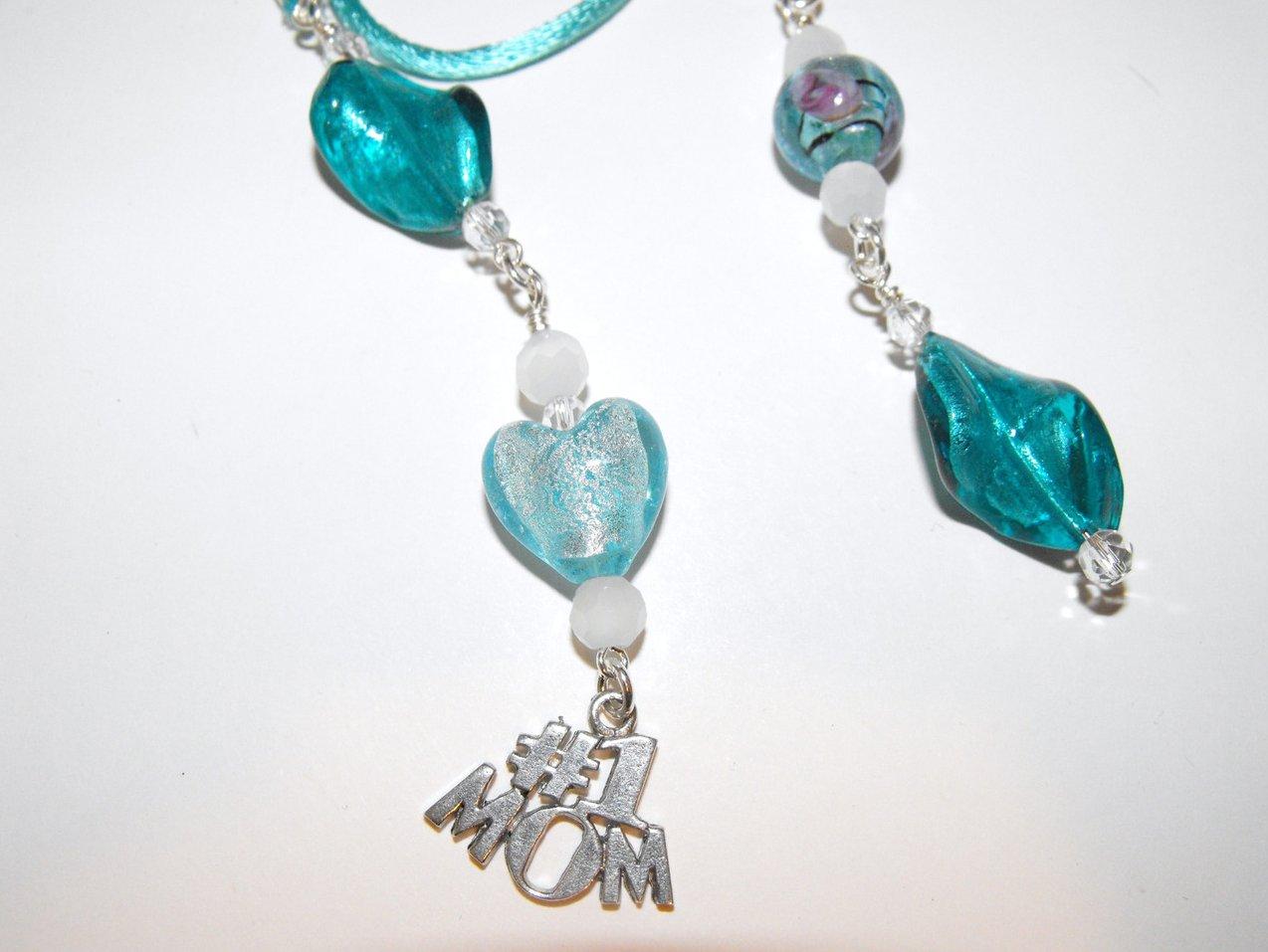Image 1 of Mom Book Thong Bookmark Aqua Murano Lampwork Beads Silver Plated