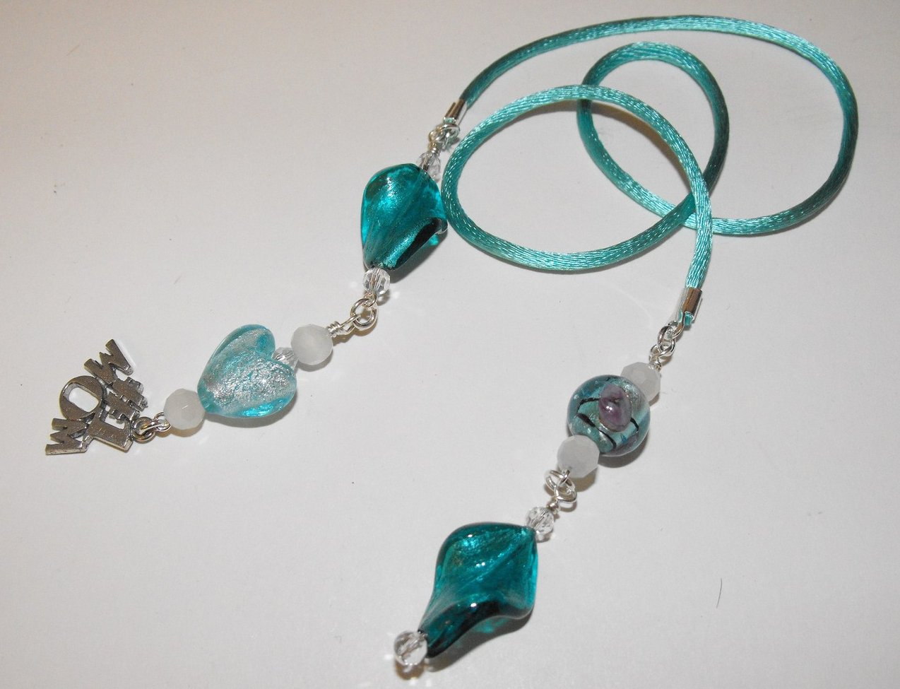 Image 2 of Mom Book Thong Bookmark Aqua Murano Lampwork Beads Silver Plated