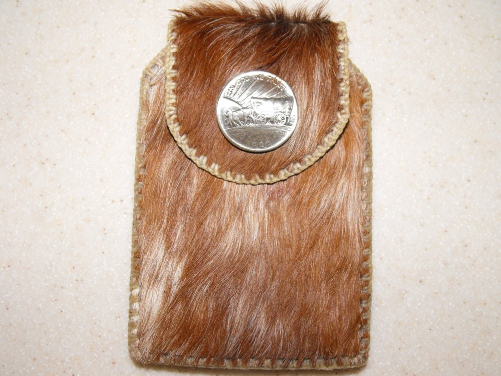 Leather Belt Pouch Hand Stitched Cell Case Hair On Cowhide