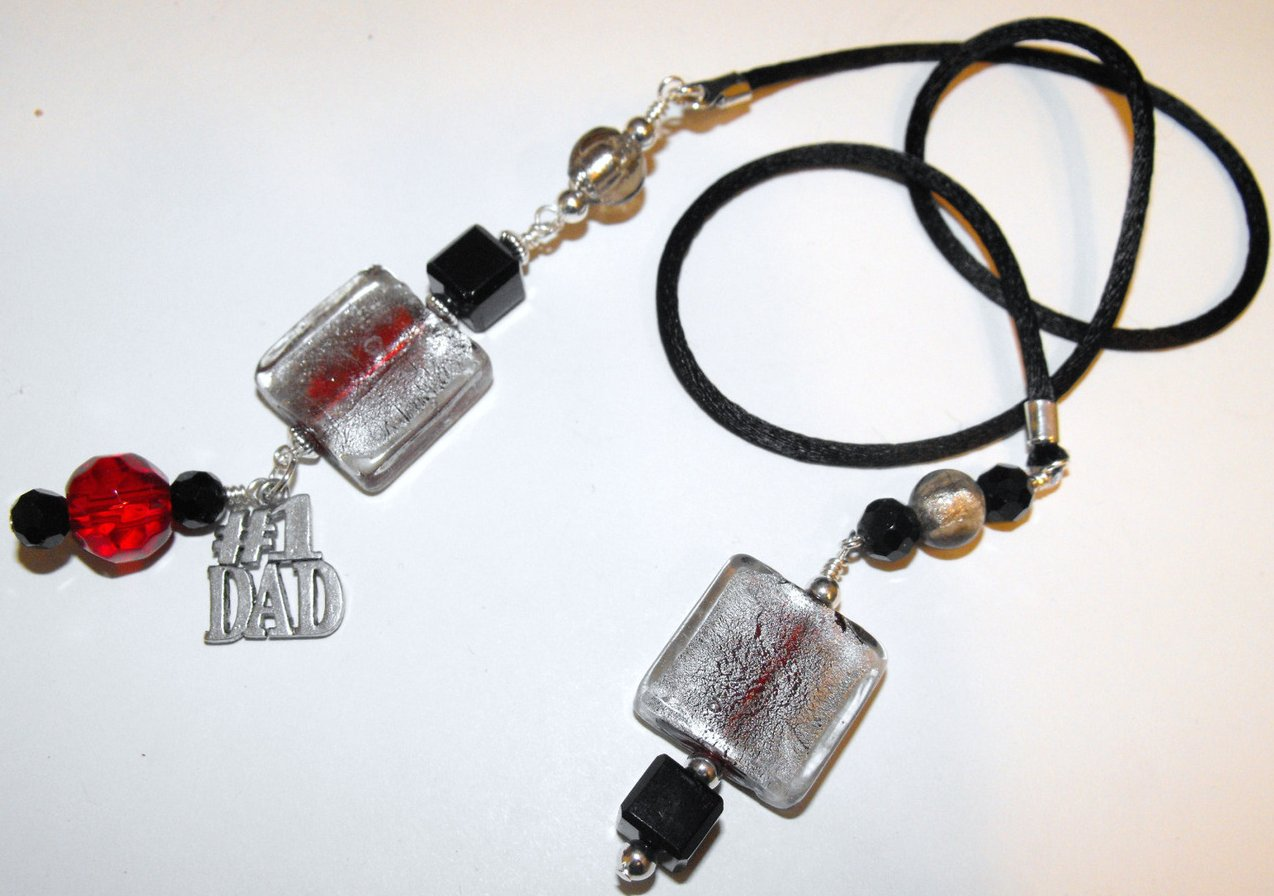Dad Bookmark Book Thong Black Red Murano Lampwork Beads