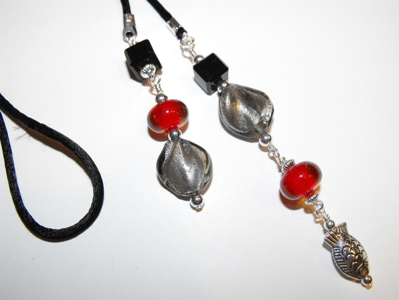 Fish Bookmark Book Thong Black Red Murano Pewter Beads