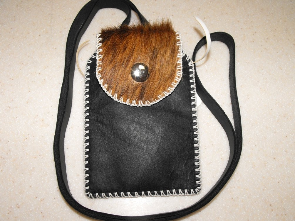 Image 0 of Shoulder Pouch Leather Hand Stitched Cell Phone Case Black