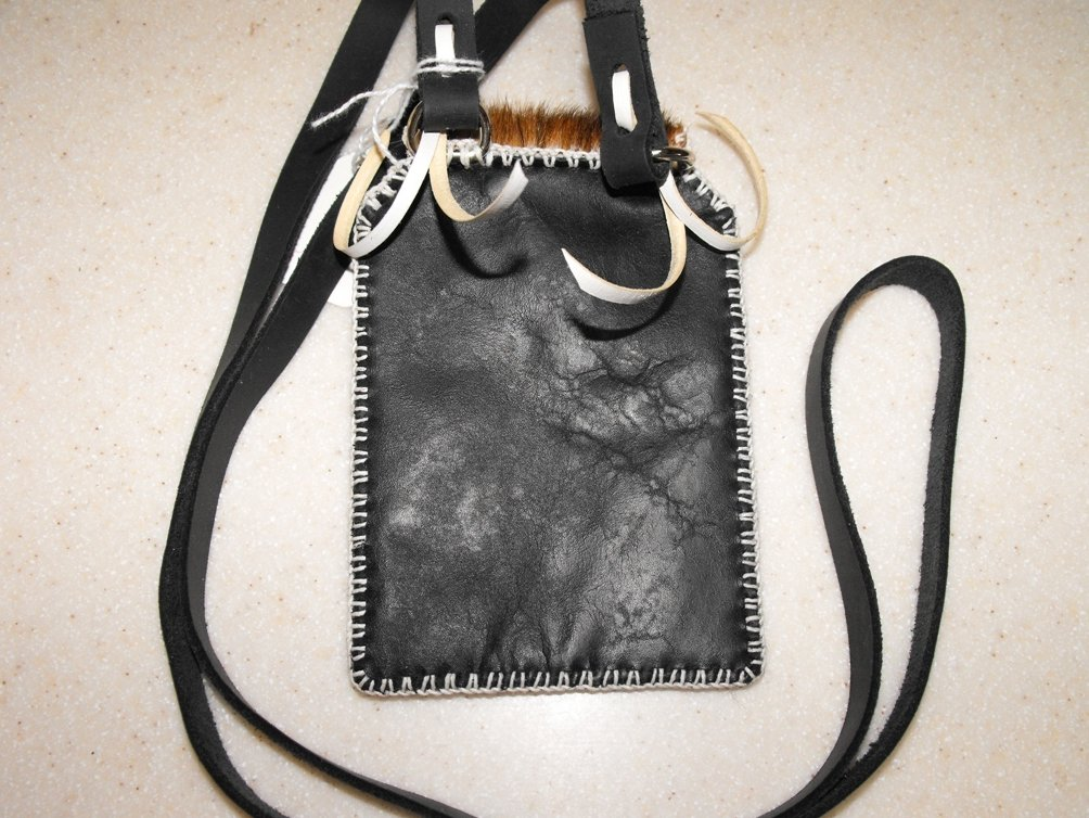 Image 1 of Shoulder Pouch Leather Hand Stitched Cell Phone Case Black
