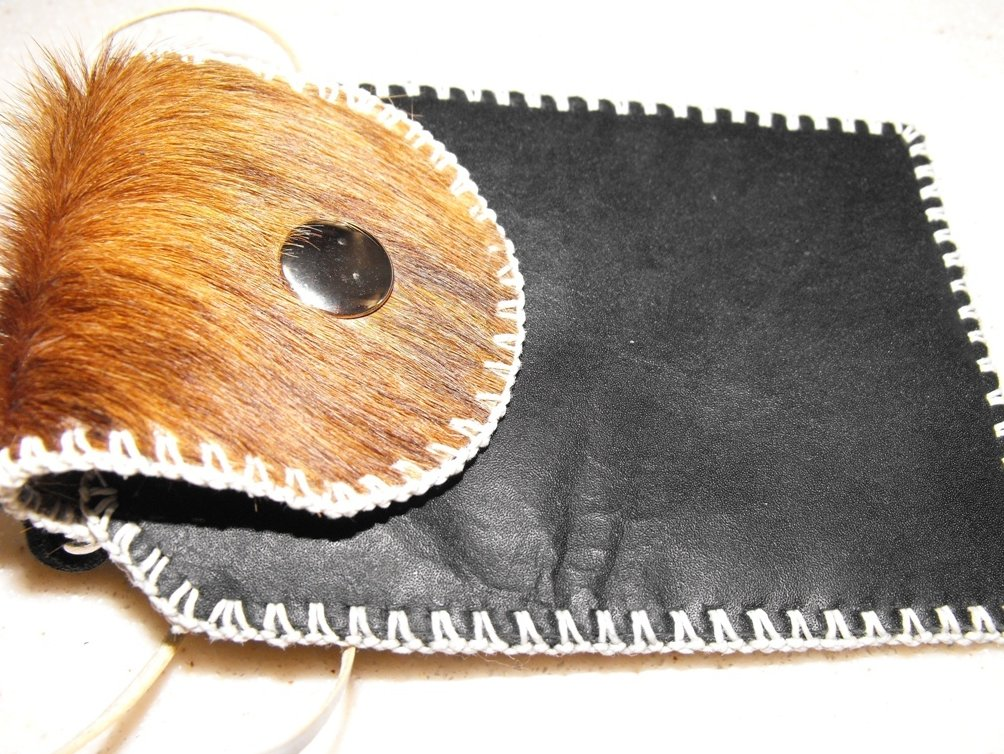 Image 2 of Shoulder Pouch Leather Hand Stitched Cell Phone Case Black