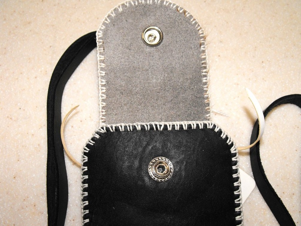 Image 3 of Shoulder Pouch Leather Hand Stitched Cell Phone Case Black