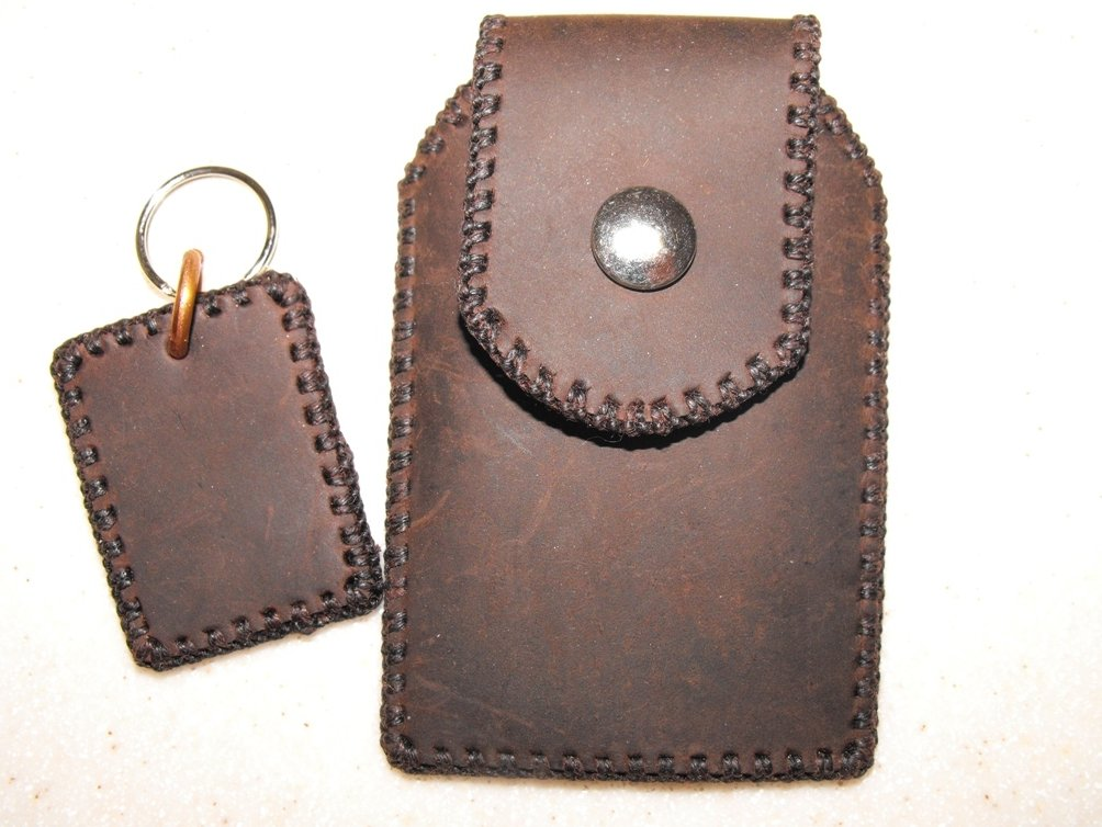 Leather Belt Pouch Cell Case Hand Stitched Matching Key Fob