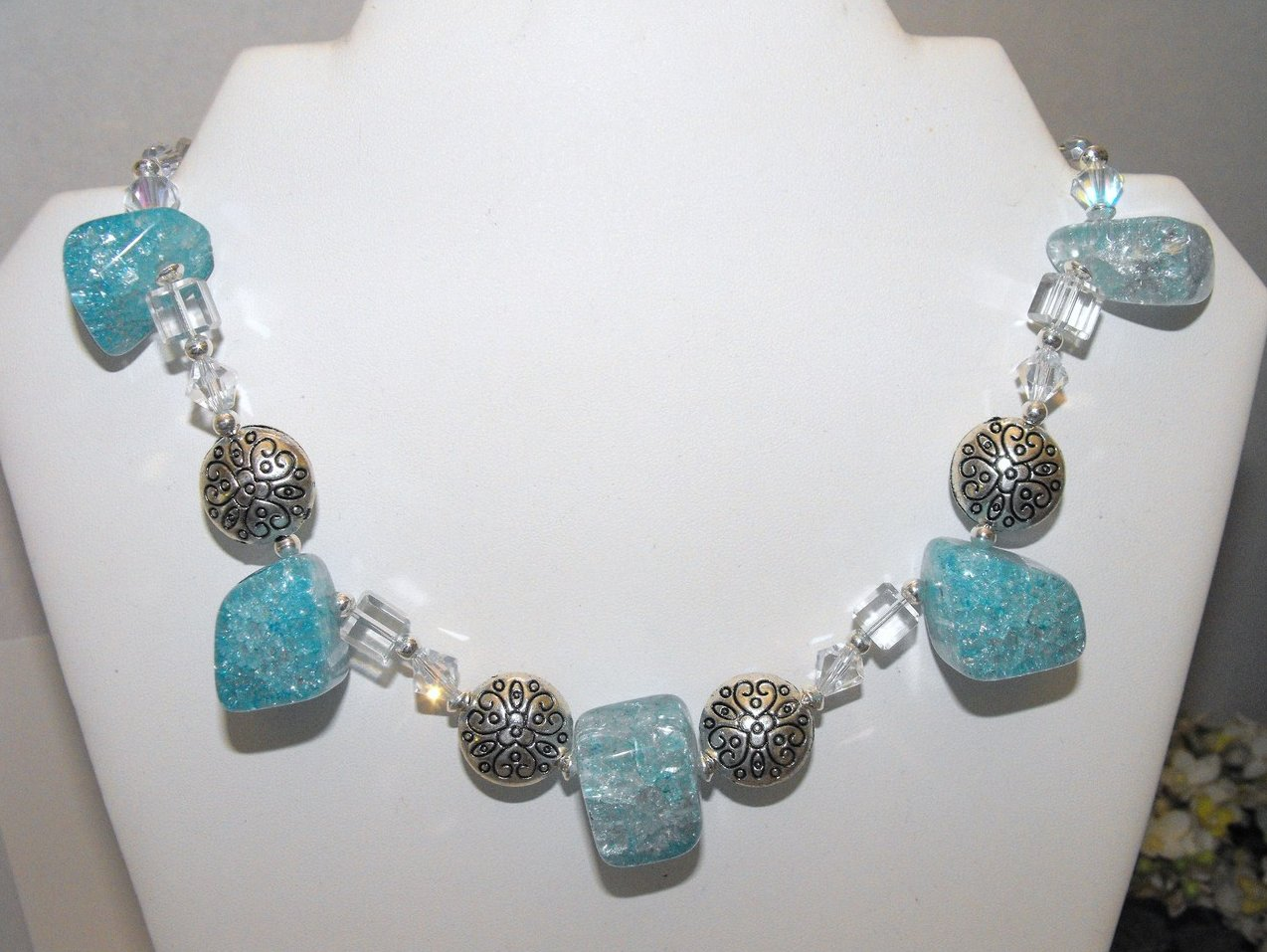 Image 0 of Chunky Necklace Choker Aqua Crackle Quartz Crystal Pewter Beads Silver Plated