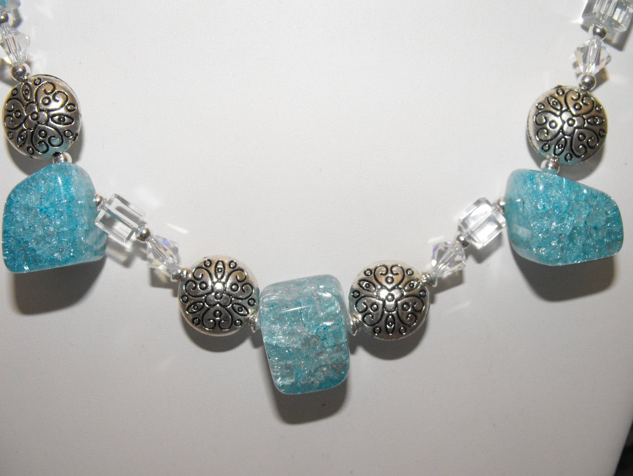 Image 1 of Chunky Necklace Choker Aqua Crackle Quartz Crystal Pewter Beads Silver Plated