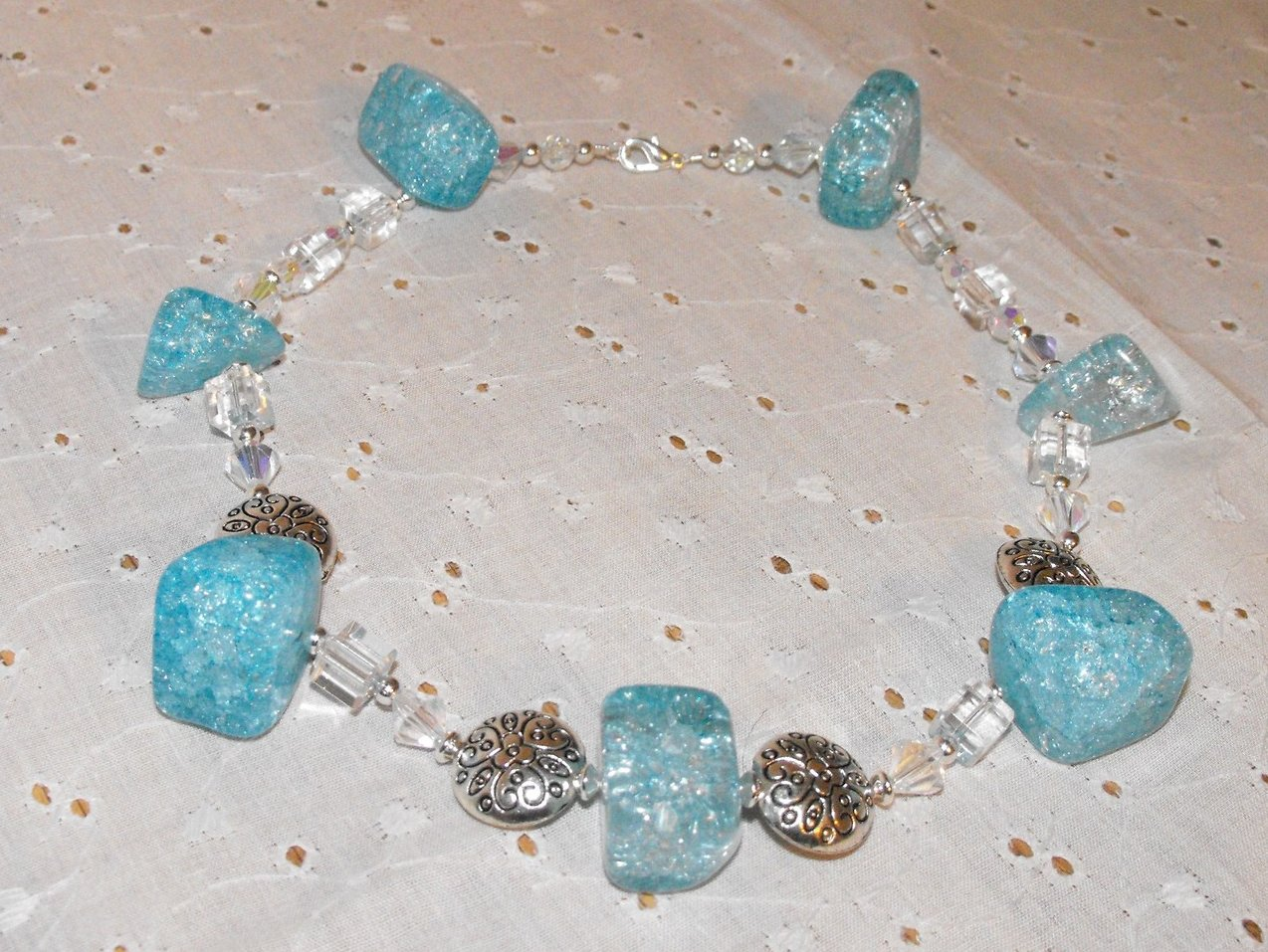 Image 2 of Chunky Necklace Choker Aqua Crackle Quartz Crystal Pewter Beads Silver Plated