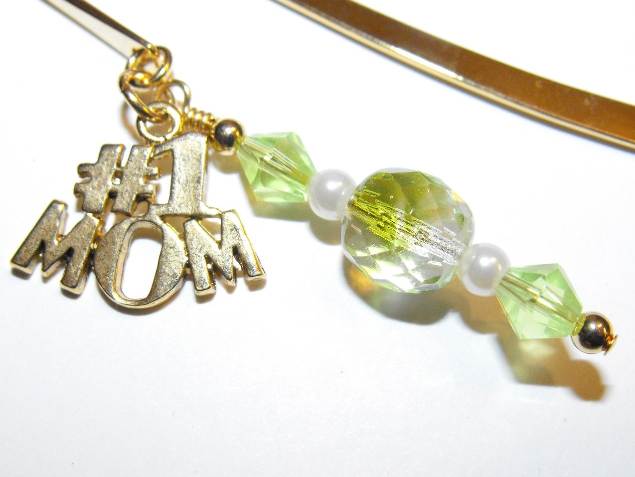 Bookmark  Peridot Crystals Faux Pearls  Mom Charm 3.5 Inch Shepherds Hook
