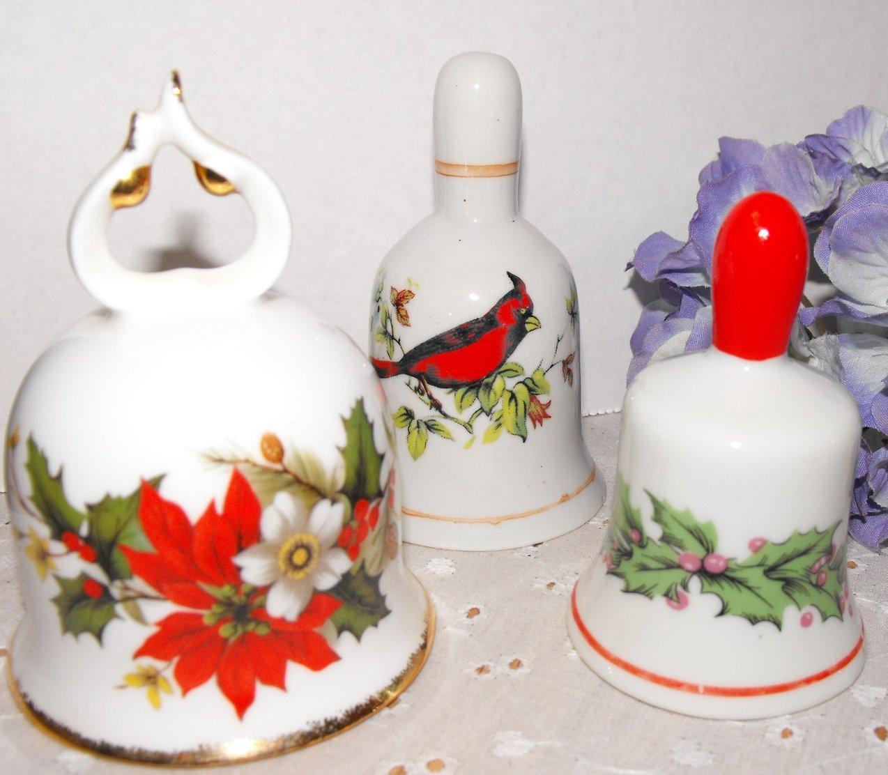Holiday Bells Vintage Ceramic Bone China Decorative Collectible