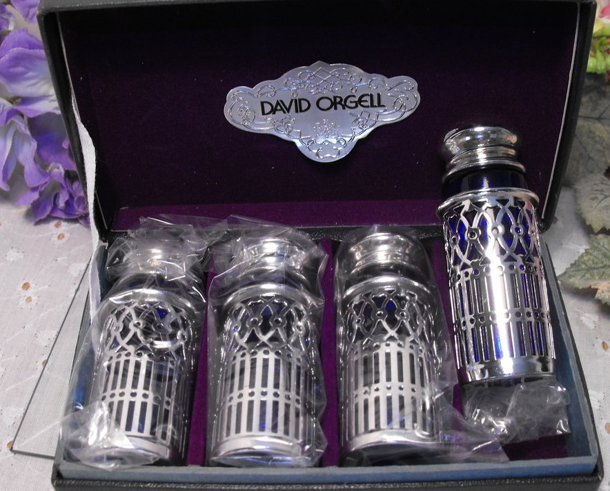 Image 1 of Mini Shaker Set 4 Vintage Silverplate Cobalt Glass Mint in Box David Orgell