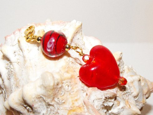 Beaded Purse Charm Zipper Pull Bookmark Red Murano Czech