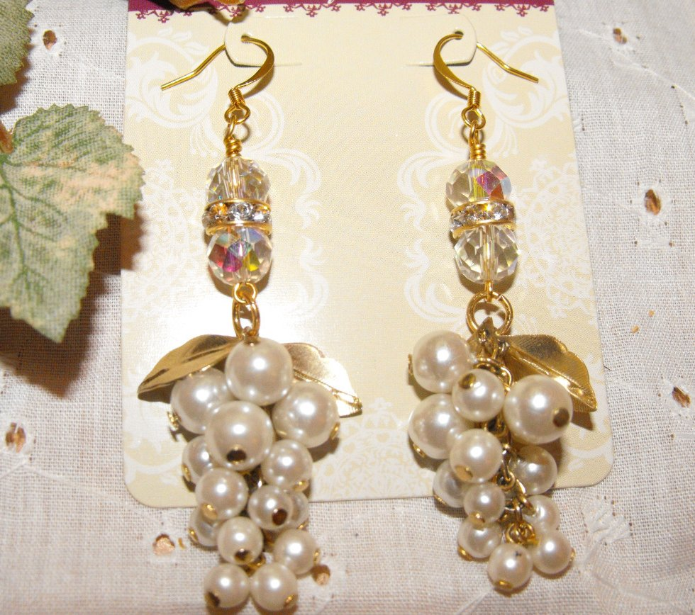 Handcrafted Earrings White Pearl Cluster Swarovski Gold Plated