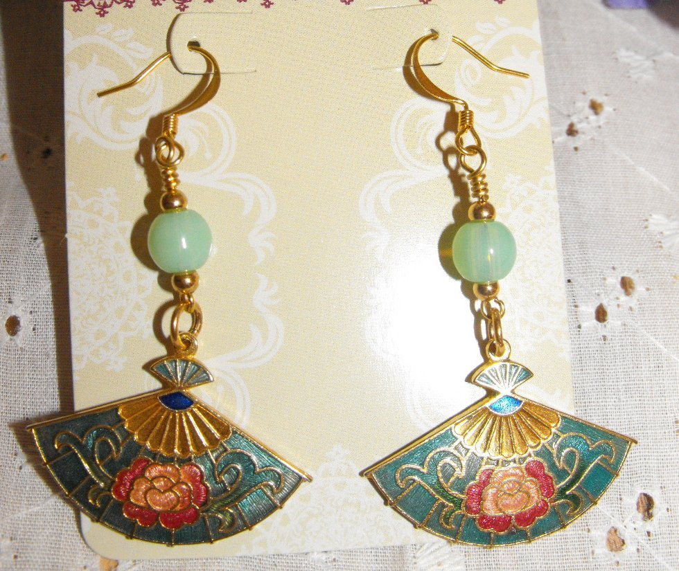 Handcrafted Earrings Jade Beads Green Cloisonne Fans Gold Plated