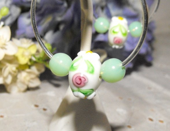 Image 0 of Earrings Endless Hoops Silver Plated Lampwork Glass and Jade Beads
