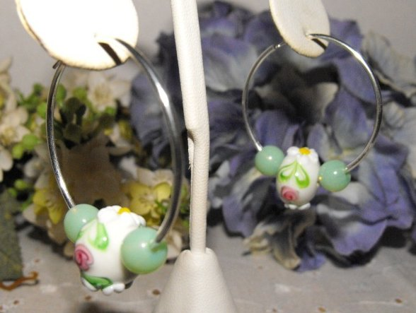 Image 1 of Earrings Endless Hoops Silver Plated Lampwork Glass and Jade Beads