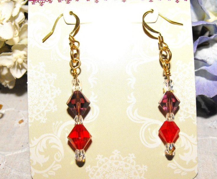 Image 0 of Earrings Beaded Crystal Swarovski Gold Plated Handcrafted Red Hat Colors