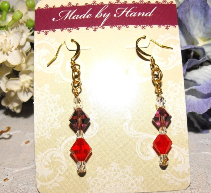 Image 1 of Earrings Beaded Crystal Swarovski Gold Plated Handcrafted Red Hat Colors