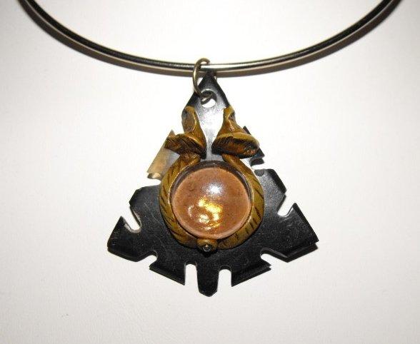 Choker Necklace Gem Glass Artisan Bullhorn Alpaca Silver
