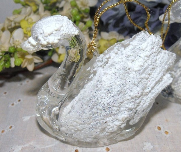 Image 0 of Ornaments Swans Lucite Frosted Set Three