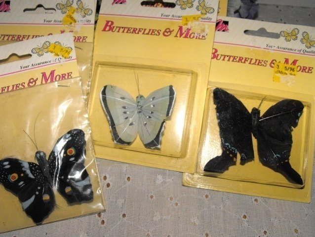 Feather Butterflies Hand Painted Crafting Lot 6