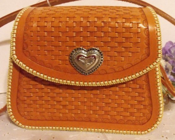 Hand Tooled Leather Handbag Purse Shoulder Bag Basketweave Hand Stitched