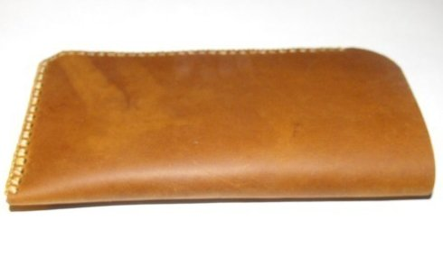 Image 1 of Soft Leather Handcrafted Eyeglass Case Stone Oil Tanned Hand Stitched Unlined