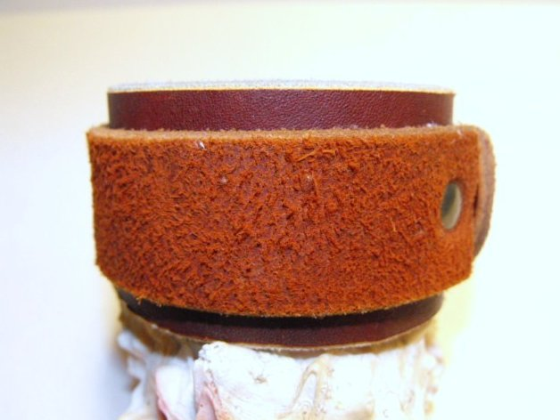 Image 1 of Leather Wrist Cuff Bracelet Extra Wide Hand Crafted Latigo 9 inch with Snap