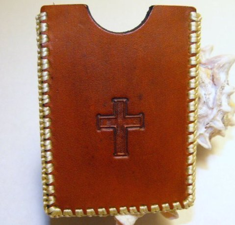 Handcrafted Leather I.D. Card Case Hand Stitched Tooled with Cross
